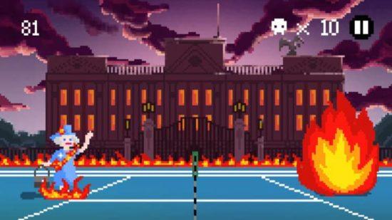 分かる人には分かるネタが満載!テニスとヘヴィメタルを混ぜたおバカアクションゲーム「HEAVY METAL TENNIS TRAINING」