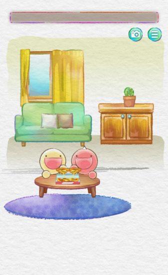 かわいい生き物「ふにゃもらけ」に食べ物をあげる脱出ゲーム「ぺこぺこもぐもぐSOS」