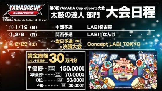 ヤマダ電機「第3回YAMADA Cup eSports大会太鼓の達人部門」を開催、エントリー受付スタート