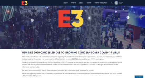 世界最大のゲームの展示会「E3 2020」が開催中止