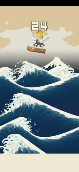 浮世絵の中でサーフィンをする波乗りアクションゲーム「うきよウェーブ」