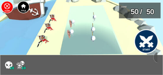 スケルトンを配置して敵と戦わせるバトルシミュレーションゲーム「Skeleton Wars」